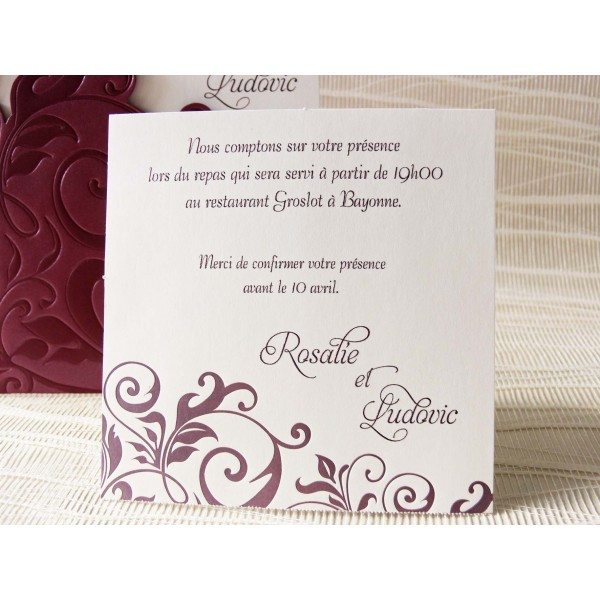 carte invitation mariage pictures to pin on pinterest garden. Black Bedroom Furniture Sets. Home Design Ideas